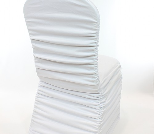 White Rouched Hotel Chair Cover