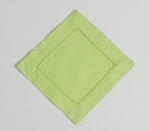 Pistachio Hemstitch Cocktail Napkin