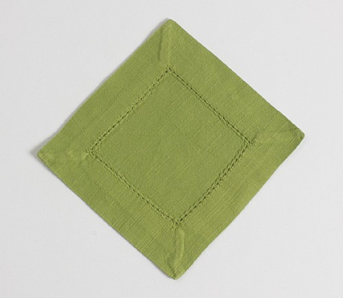 Peapod Hemstitch Cocktail Napkin