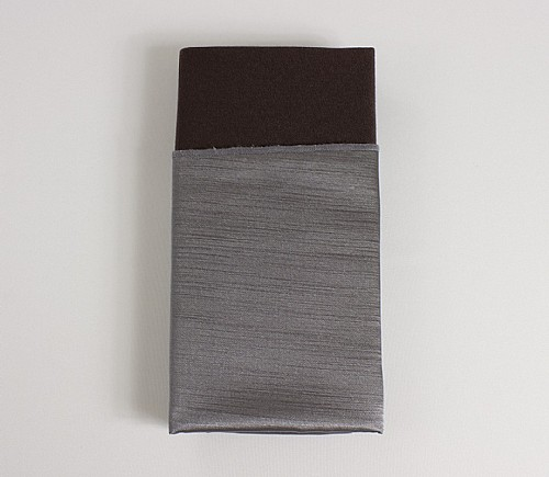 Charcoal Majestic Shiny Dinner Napkin with Brown Cotton Backing