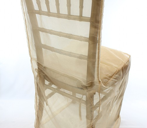 Champagne Organza Chiavari Chair Cover