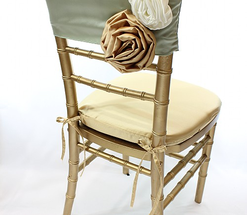 Sage Lamour with Wheat & Ivory Rosettes Chiavari Bikini Chair Cap