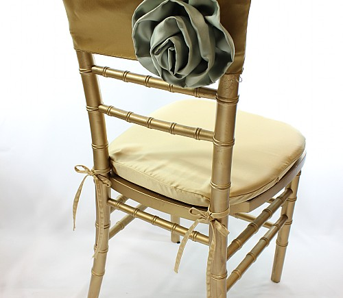 Gold Lamour with Sage Rosette Chiavari Bikini Chair Cap